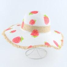 Women Summer Beach Sun Hats Handmade Paint Strawberry Straw Hat Big Wide Brim Foldable Panama