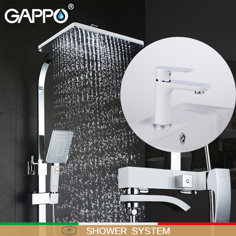 GAPPO white Bathtub Faucets bath tub mixer waterfall bath faucets basin faucet brass basin mixer taps shower system