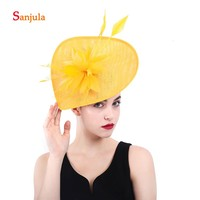 Sweetheart Sharp Bride Hats with Feathers Yellow Linen Wedding Women's Hat Hair Decoration accesorio boda H76