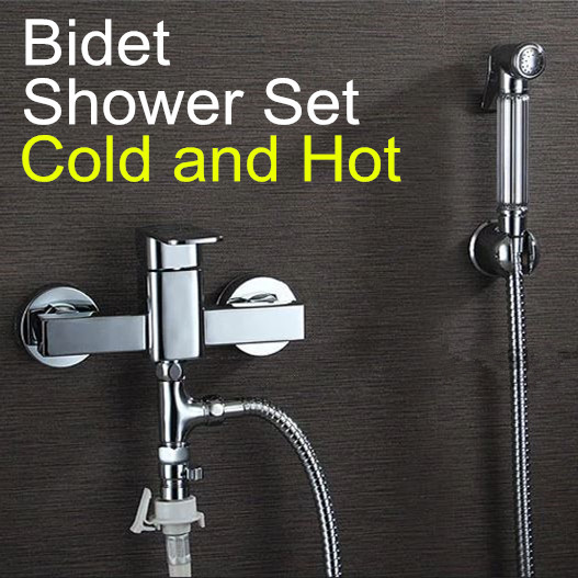 ФОТО Hand Held Bidet Shower set Toilet Jet Cleaner Portable Bidet Shower Spray Brass Single Handle Wall Mount Faucet Cold and Hot