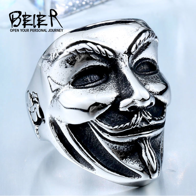 BEIER 2017 New V for Vendetta Stainless Steel Jewerly Wholesale Factory Price Movie Guy Fawkes Mask Ring BR8-208