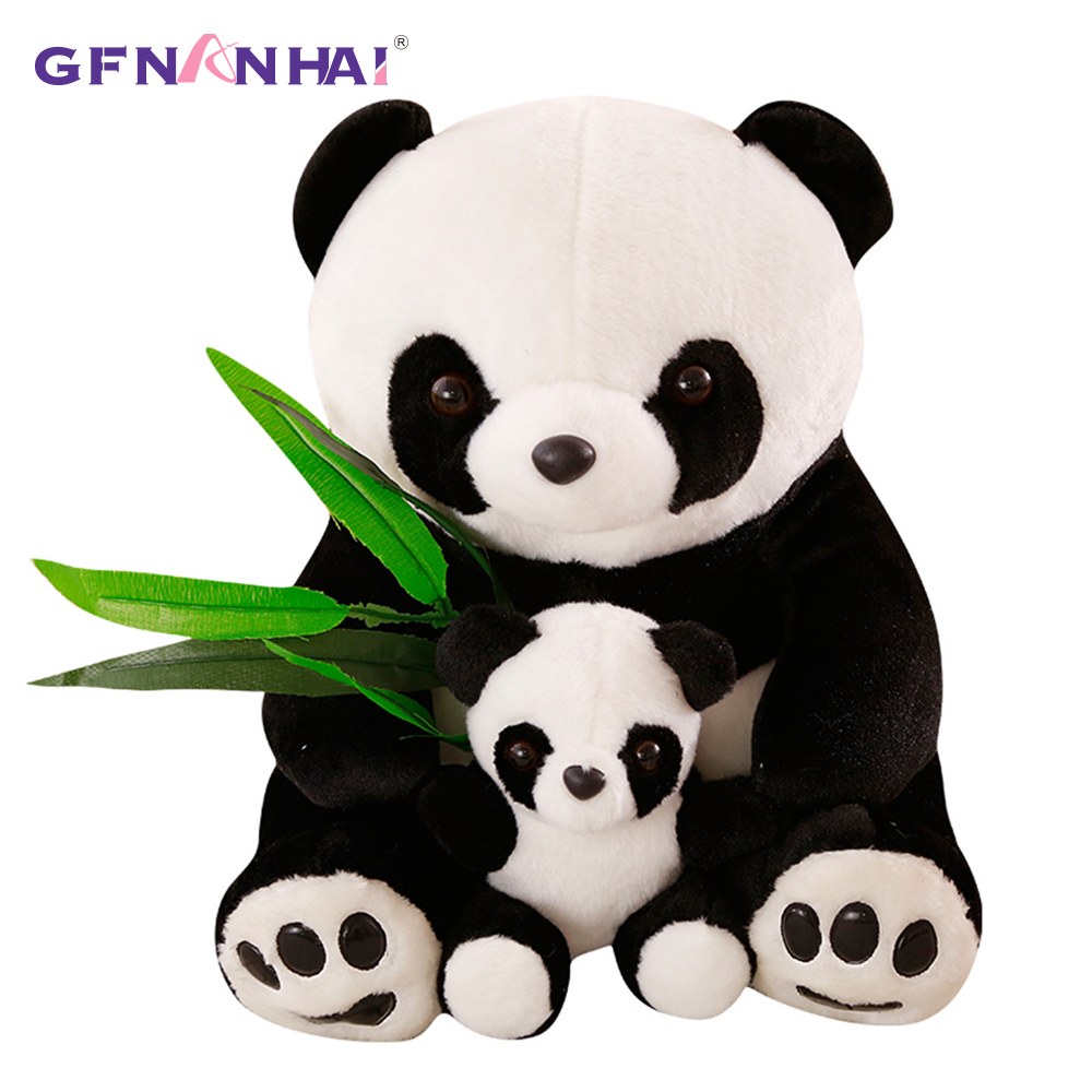 1pc 23/30cm Cute Mother &  Son Panda Plush Toy Bamboo Leaves Animal Panda Pillow Stuffed Soft Toys For Children Birthday Gift