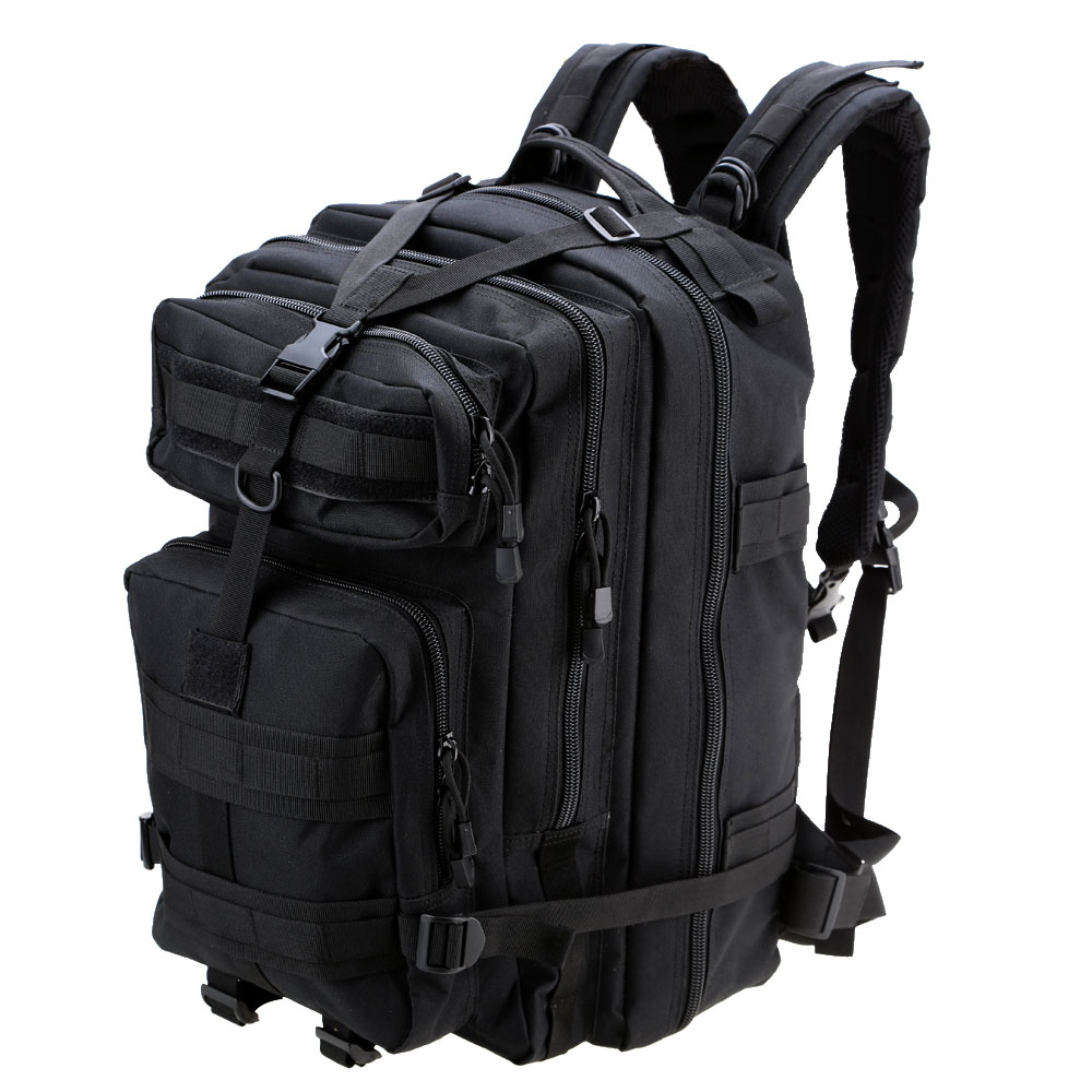 6903eb328bc9 US $26.51 34% OFF|Outdoor Camping Hiking Backpack Black Nylon Bag 45L  Military Tactical Backpack Trekking Rucksack Portable Cycling Shoulder Bag  -in ...