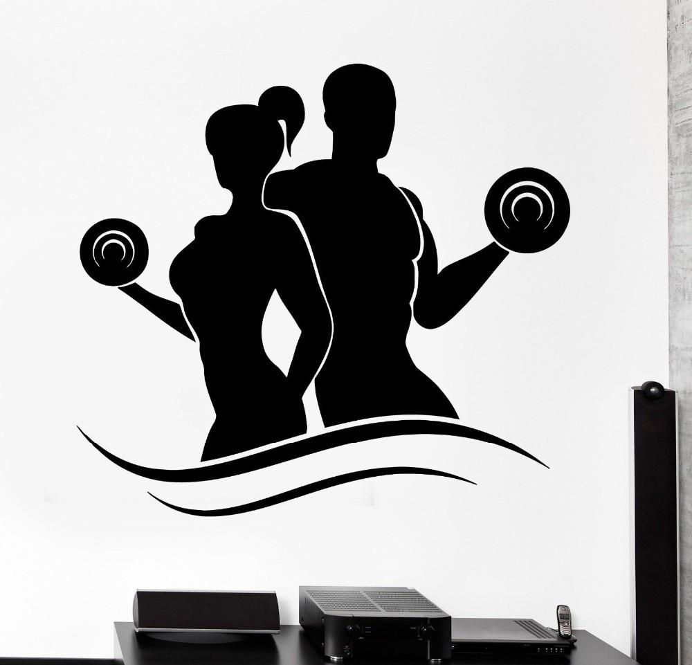Fashion Fitness Vinyl Wall Decals Lady Man Bodybuilding ...