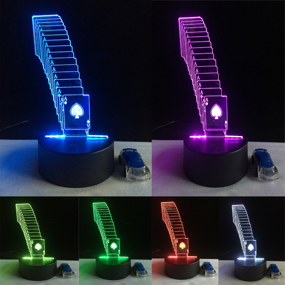 3D LED Night Lamp Lighting USB Base RC Remote Control Poker Playing Card Home Cafe Bar Restaurant Decor Touch 7 Color Change 2017 hot led display space isolator recharge base remote control uv lamp vacuum cleaners