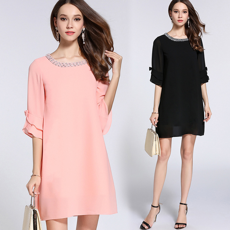 New 2018 Summer Style Fashion Women Plus Size elegant beaded chiffon Dress half sleeves one piece