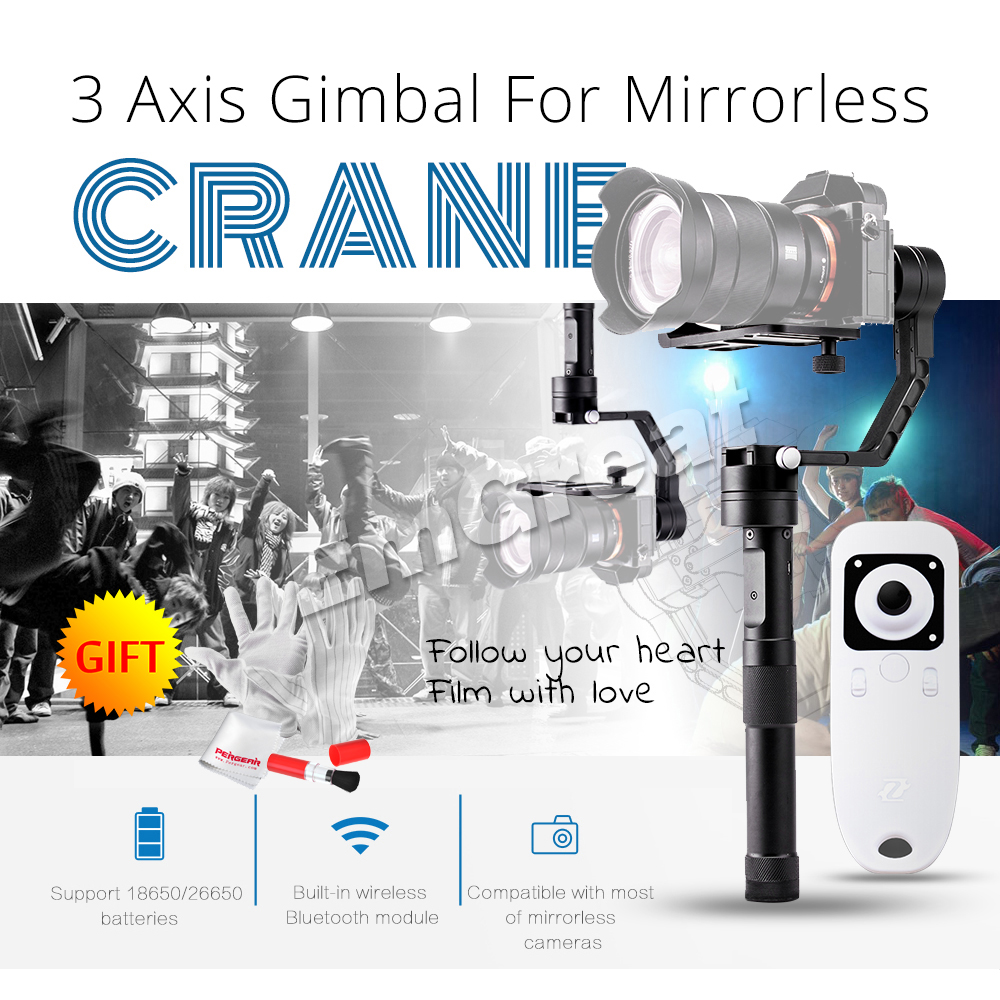 Zhiyun Crane 3 Axis Handheld Gimbal Stabilizer with Wireless Remote Controller 360 Motors Degree Moving Gimbal for DSLR Cameras zhiyun crane 3 axis handheld gimbal stabilizer 360 motors degree moving gimbal vs beholder ds1 ms1 nebula 4000 lite for dslr