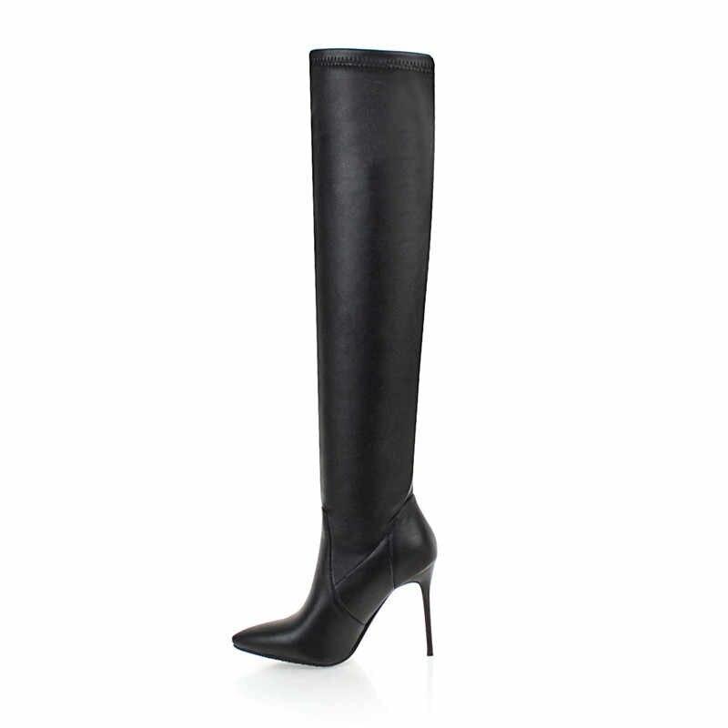 MORAZORA 2020 yeni varış sonbahar diz çizmeler üzerinde kadın pu stiletto yüksek topuklu parti balo ayakkabı seksi ince streç çizmeler kadın