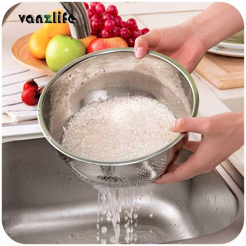 Vanzlife Kitchen Stainless Steel Wash Rice Vegetables Basin Drain Basket Creative Leaky Sieve Washing Device