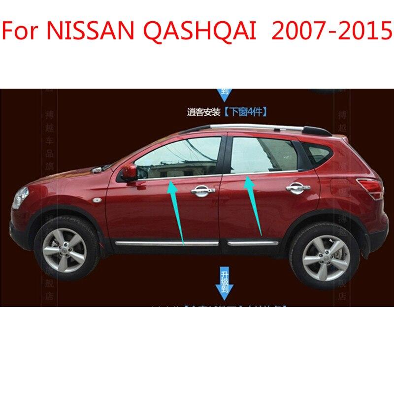 Pour NISSAN QASHQAI 2007-2015 haute qualité en acier inoxydable bandes voiture fenêtre garniture décoration accessoires voiture style 4 pièces
