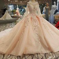 100% Real Photos Vestido De Festa Prom Dress See Through Back Appliques Full Sleeves Bow Beading Ball Gown Evening Dresses