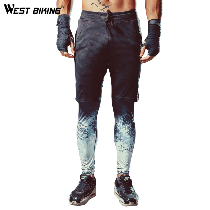 WEST BIKING Sport Pants Gym Workout Fitness Mens Faux Two-piece Running Trousers Cycling Compression Tight Sports Cycling Pants