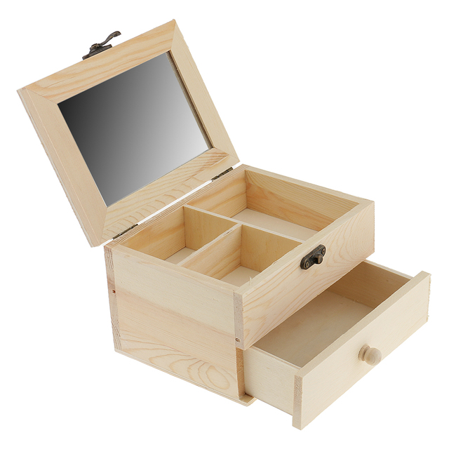 2 Tiers Unpainted Natural Wood Drawer Jewelry Box Case Holder