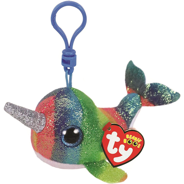 Pyoopeo Ty Beanie Boos 4 9cm Nori The Narwhal Clip Plush Krychain