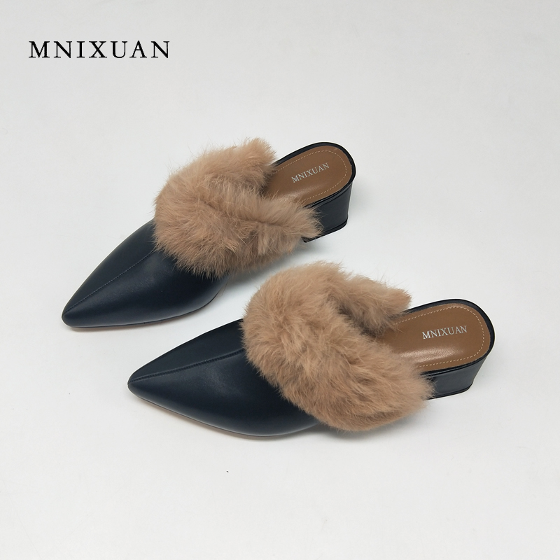 MNIXUAN Fashion covered pointed toe mules shoes with fur real leather women shoes sexy solid medium heels 5cm ladies pumps balck mnixuan mules shoes women leather 2018