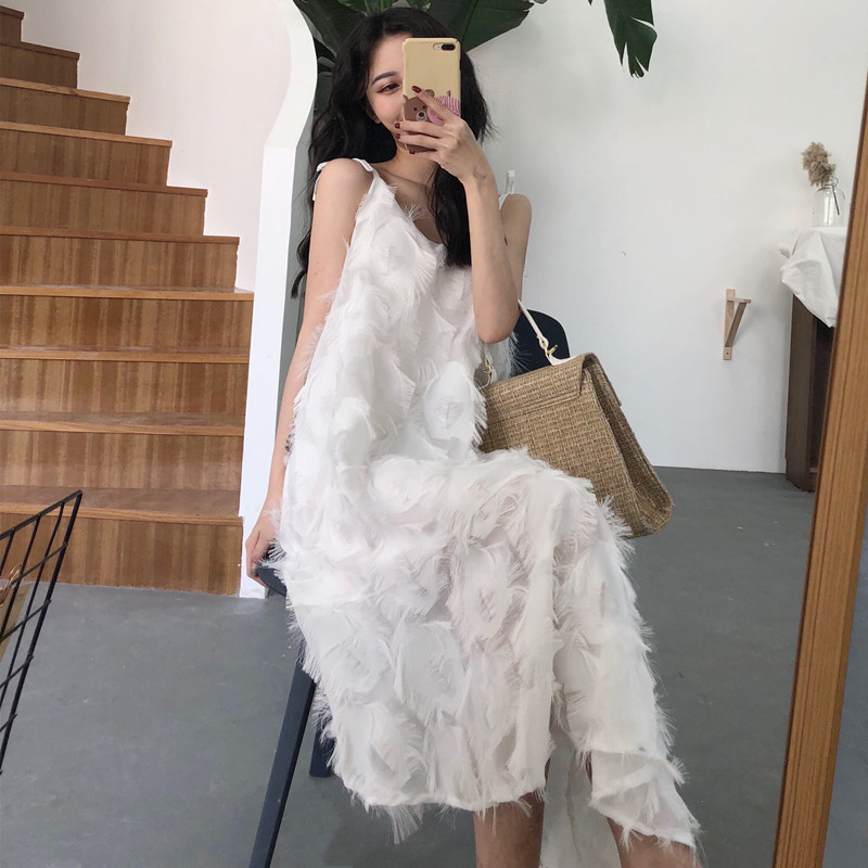 Womem Wear Dress 2018 Female New Summer Spaghetti Strap Feathering Tassel V-Neck Long Dress Irregular Hem Dresses (W00020) ...