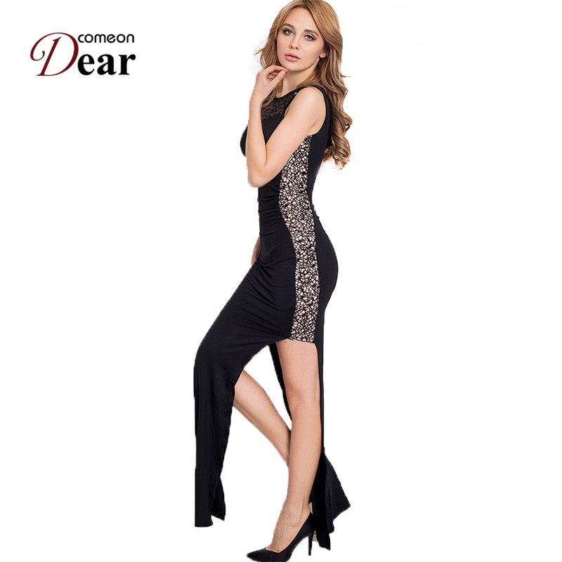 Buy Cheap Comeondear New Arrival Club Dress 2 Colors Sequin Sleeveless Sexy Dress RK80176/RK80204 Side Open High Quality Long Dress