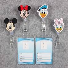 Badge Scroll Nurse Reel Cute Duck Black Mouse Vertical PVC Character Scalable Exhibition ID Plastic  Students Card Holder