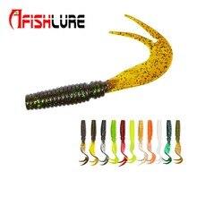 8pcs/lot Afishlure Curvy Tail Soft Lure 75mm 3.3g Forked Tail fishing bait grubs Plastic Maggot Fishing lure Jig Head Texas Rig