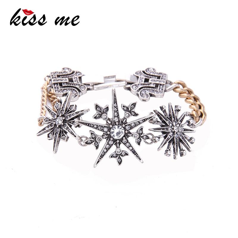 KISS ME Simple Crystal Snows Charm Bracelet 2017 personlig vintage tilbehør mote smykker