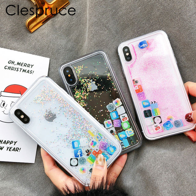 coque iphone x paillette liquide application