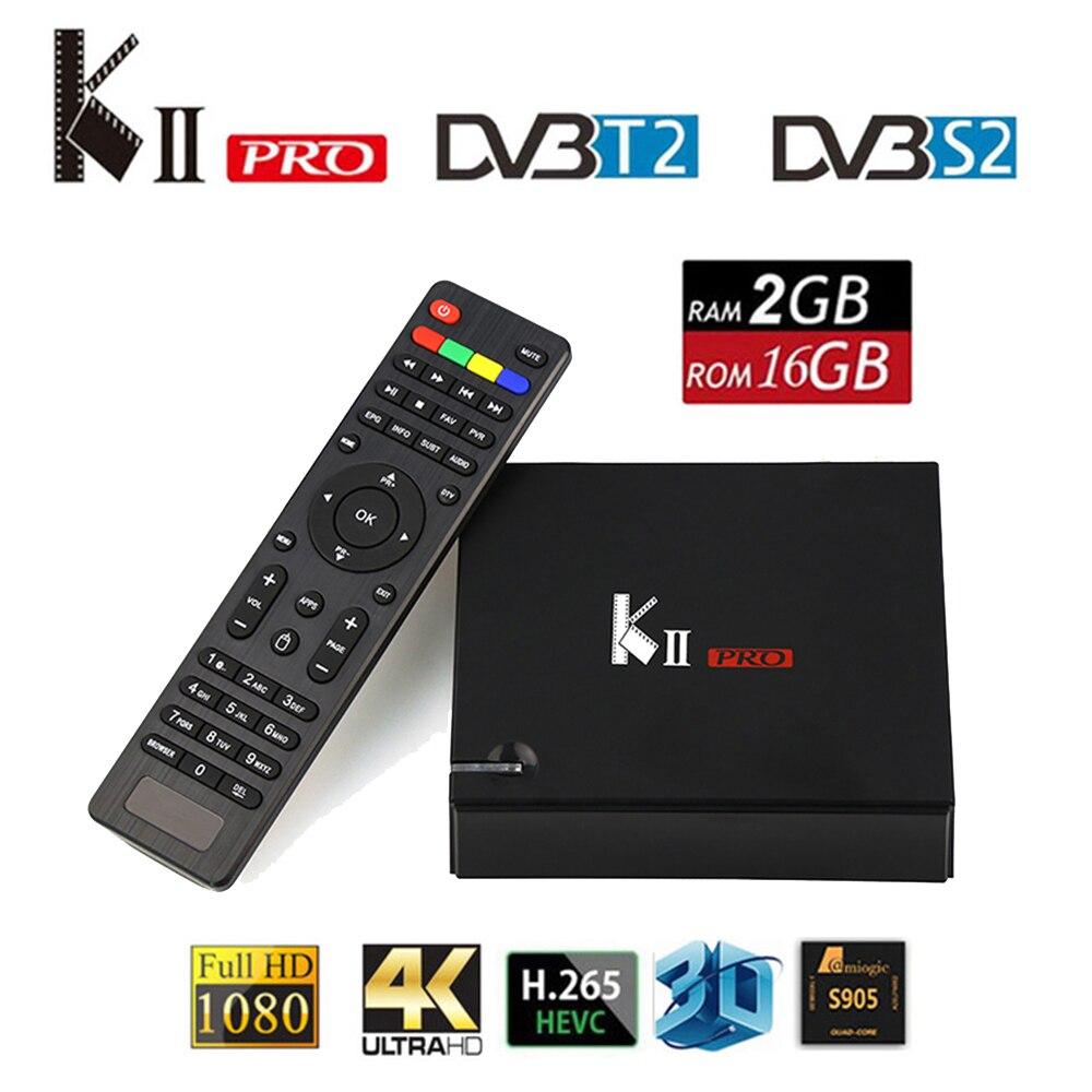 MECOOL KII PRO Android TV Box DVB-S2 DVB-T2 K2 PRO Amlogic S905D Quad Core 2G16G 4K 2.4 / 5GHz Dual Wifi BT4.0 Smart Set-top Box kii pro android 5 1 1 tv box built in 2 4g
