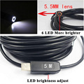 5M HD OTG USB Endoscope Camera Coms with LED 5.5mm Lens Adjustable Waterproof Inspection Car Borescope Endoscopy for PC Tablet