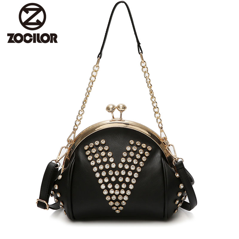 Fashion new 2018 Vintage rivet PU Leather Women Bag Small Women Messenger Bag Single Strap Shoulder Bag Chain Crossbody Bags new bag strap chain wallet handle purse acrylic resin strap chain strap replaced bag strap bag spare parts