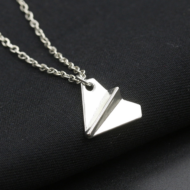 10 piece/lot Paper Plane Necklaces Airplane Pendants Silver Link Chain Men Women Fashion Jewelry Accessories Charm Choker image