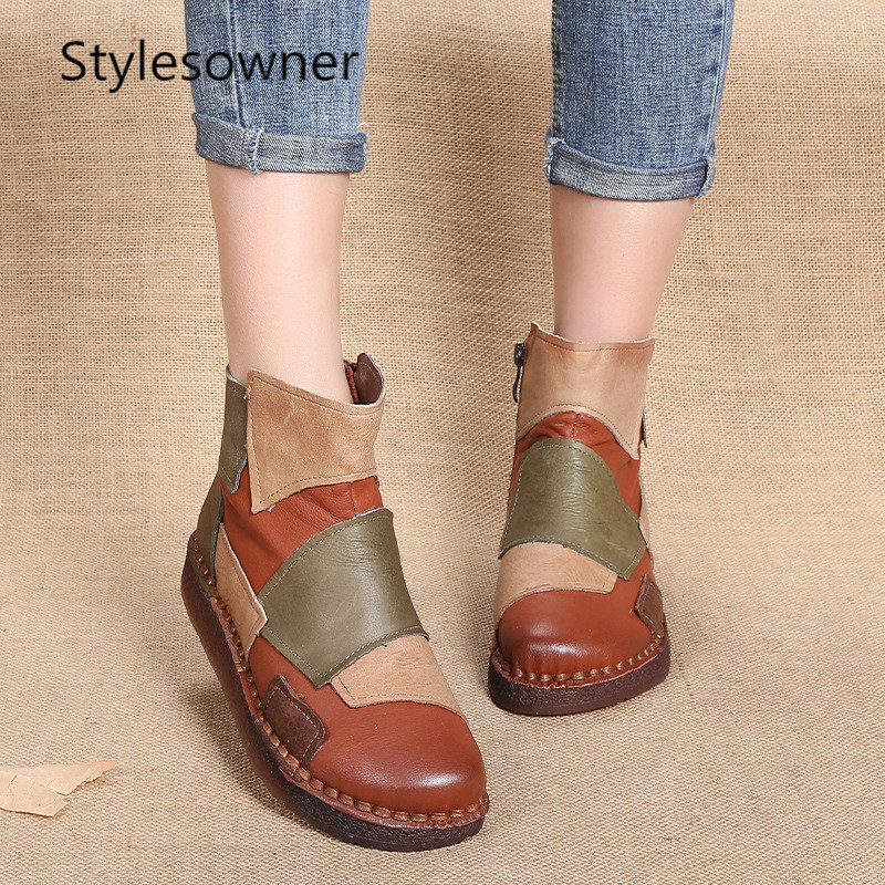 Stylesowner Women Boots Genuine Leather Ankle Boots Handmade Vintage Literary Style 2019 Fashion Spring Ladies Shoes FlatsStylesowner Women Boots Genuine Leather Ankle Boots Handmade Vintage Literary Style 2019 Fashion Spring Ladies Shoes Flats