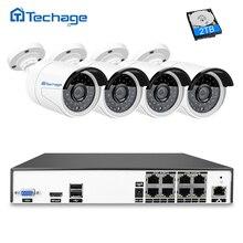 Techage H.265 8ch 4mp PoE NVR комплект безопасности Камера CCTV Системы 4 шт. 4.0mp ИК Открытый IP Камера P2P ONVIF наблюдения DIY Набор