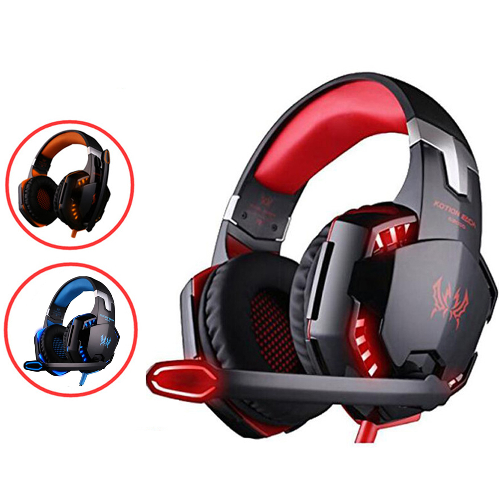 Kotion Each G2000 G9000 Gaming Headphones Stereo Headsets with Led Light Microphone Deep Bass Earphones for