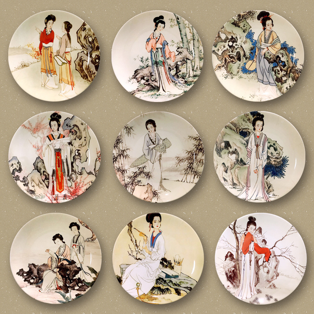 10inch Chinese Style Hand Painted Vintage Beauty Pattern Wall Ceramic Plate Decoration Birthday Gifts Crafts Dish & 10inch Chinese Style Hand Painted Vintage Beauty Pattern Wall ...