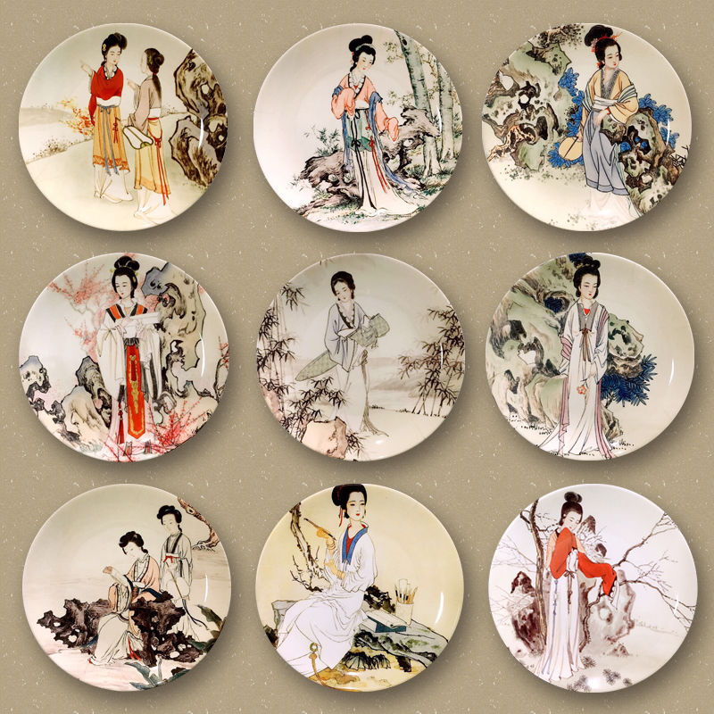 10inch Chinese Style Hand Painted Vintage Beauty Pattern Wall Ceramic Plate Decoration Birthday Gifts Crafts Dish Art Ornaments