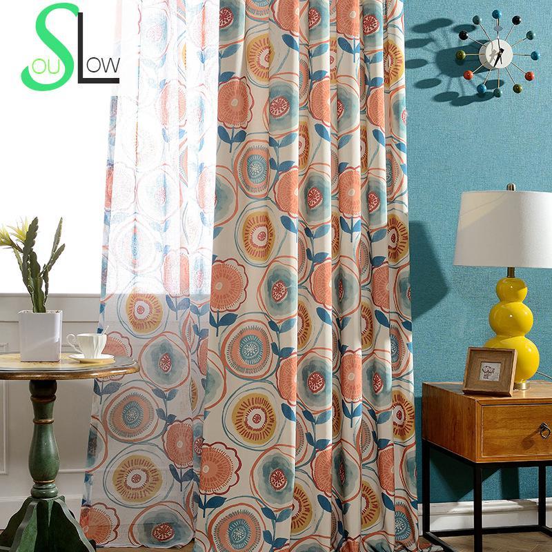 Modern Window Curtain With Flower Design: Slow Soul Modern Window Curtain Floral Curtains For Living