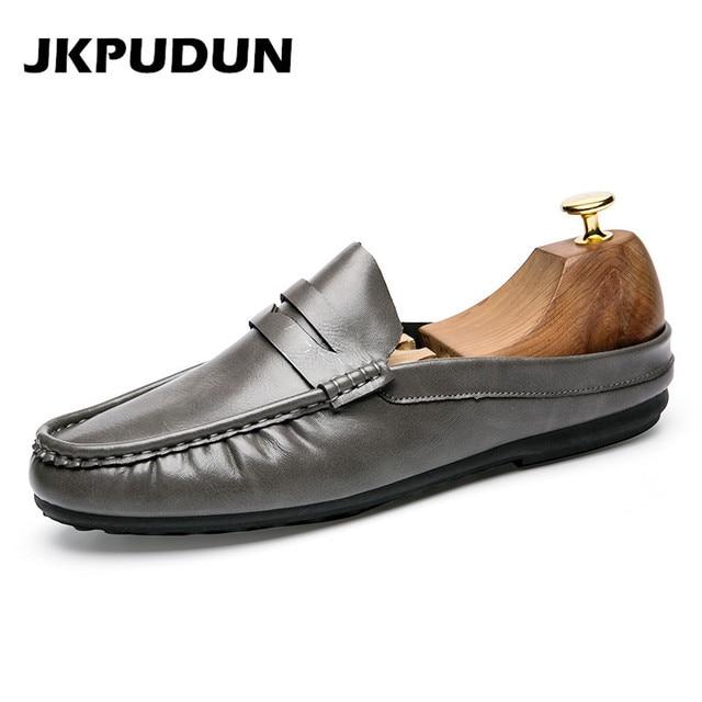 9c7699938f49d Slipon JKPUDUN Para Hombre Verano Zapatos Casuales Mocasines de Cuero de  Moda Italiana Media Transpirable Zapatos