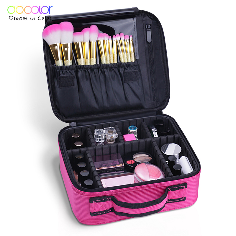 Docolor Travel Makeup Bag Women Makeup Container Storage Fashion Big Cosmetic Organizer Bag Large Zipper Cosmetic Bag