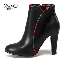 Daitifen 2018 Women Ankle Boots Plus Size 34-47 PU Zip High Spike Heel Pointed Toe Lady Autumn Woman Fashion Shoes Black Red