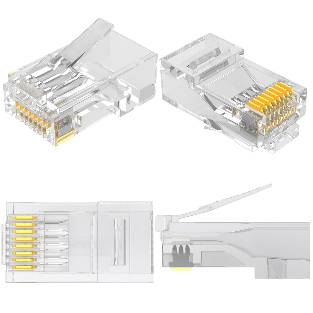 Cat5 RJ45 Connector Cat5E 8P8C Modular Ethernet Cable Head Plug Gold-plated Cat 5 Crimp Network RJ 45 Connector imc hot 10 pcs rj45 8p8c double ports female plug telephone connector