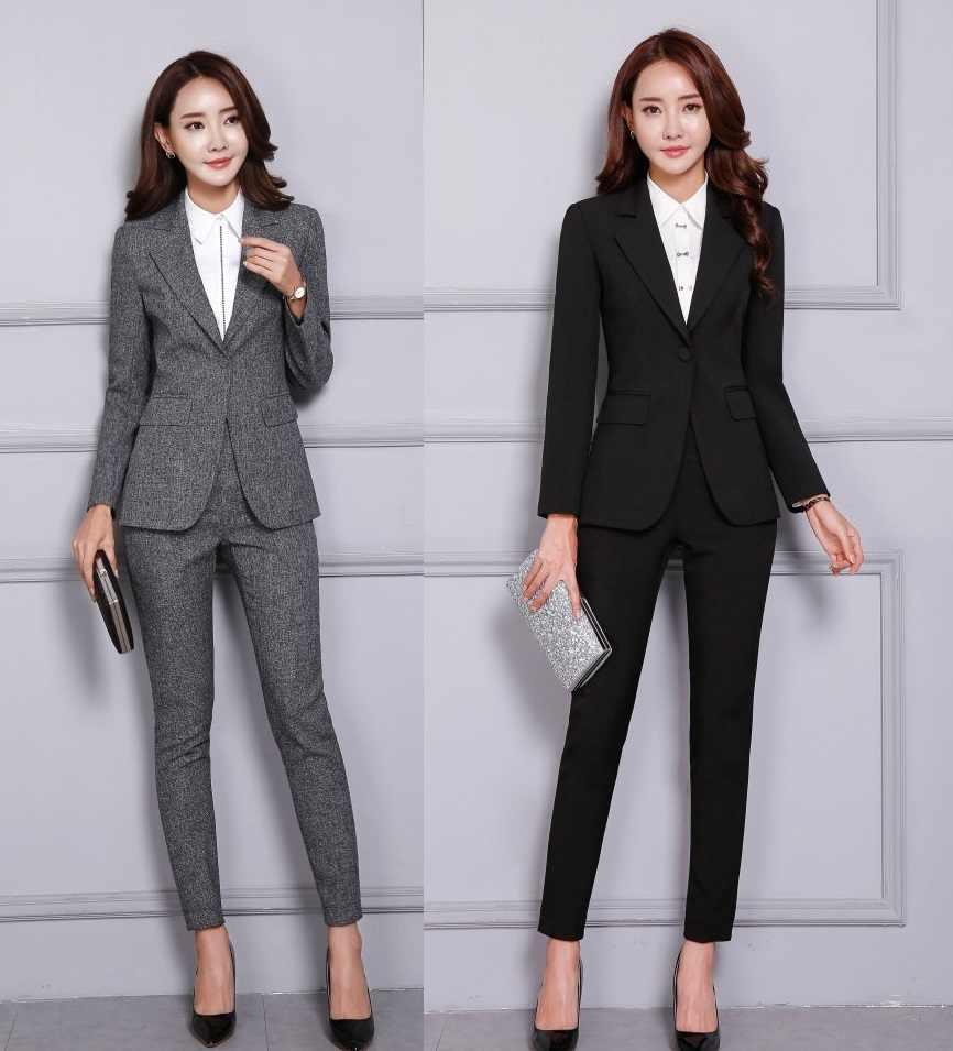 Fall Winter Formal Fashion Black Blazer Women Business Suits Pant and Jacket  Set Elegant Office Uniform ddd0a6ea3343