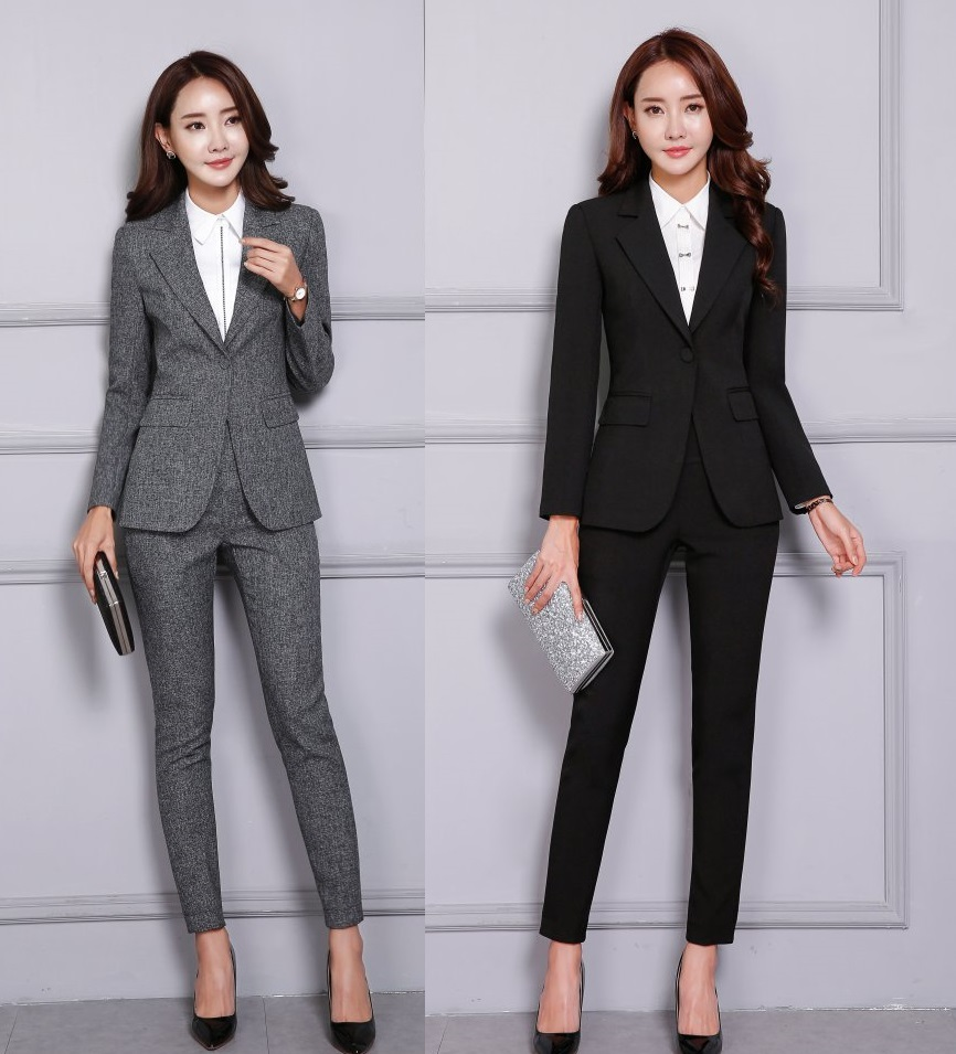 Fall Winter Formal Fashion Black Blazer Women Business Suits Pant and Jacket Set Elegant Office Uniform Designs OL Style