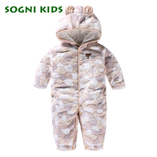 Фотография Baby Boys Girls  Rompers Winter Thick Warm Infant Clothes Brand Jumpsuit Hooded Kid Outerwear 2017 Pure Overalls for 0-18M