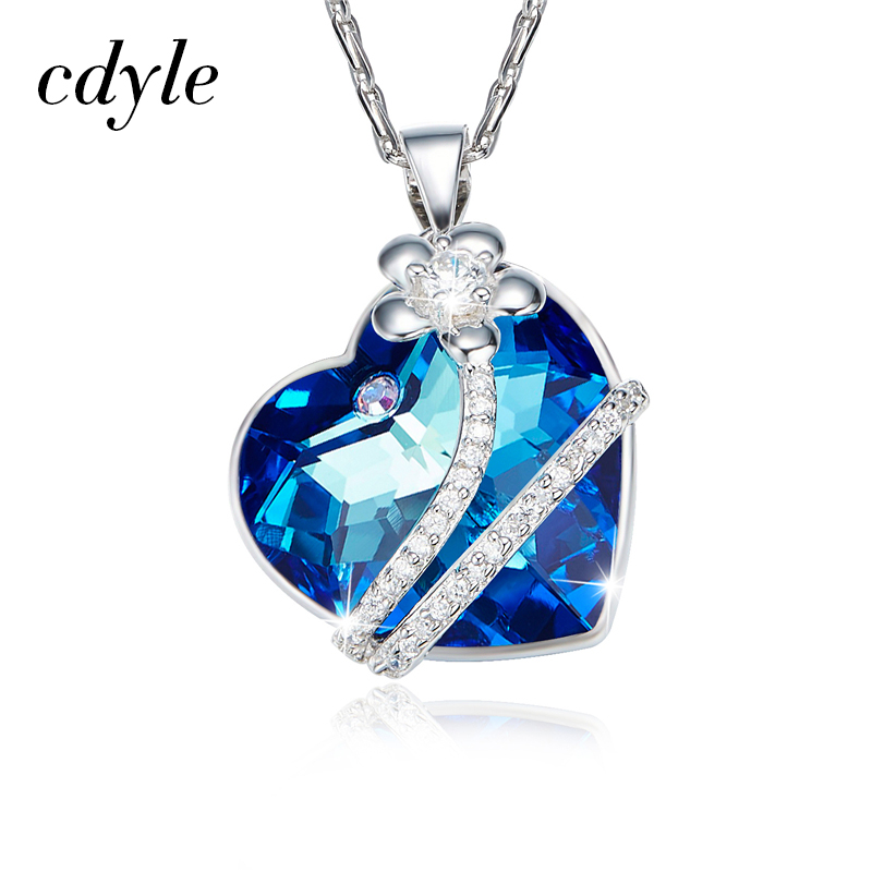 Cdyle Valentine's Day Gift Necklace Women Pendants Crystals From Swarovski Heart Shaped Luxury Jewelry Geometric Blue Purple New