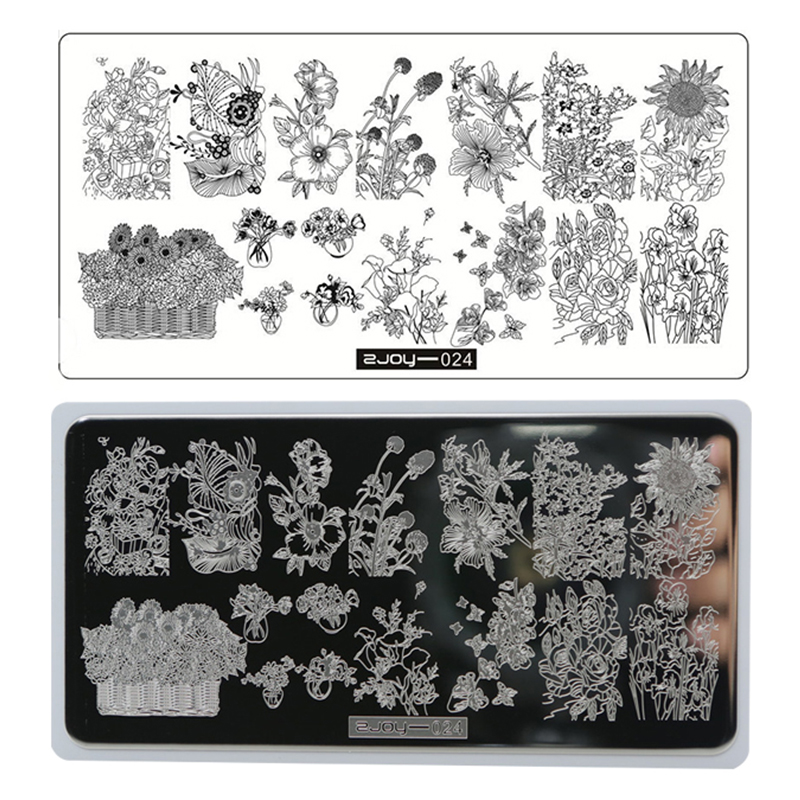 ZJOY 1Sheet With Card Nail Art Stamping Plates Sunflower Butterfly Smile Manicure Polish Stencil Stamp 6 5 12 5cm Plate New Gift in Nail Art Templates from Beauty Health