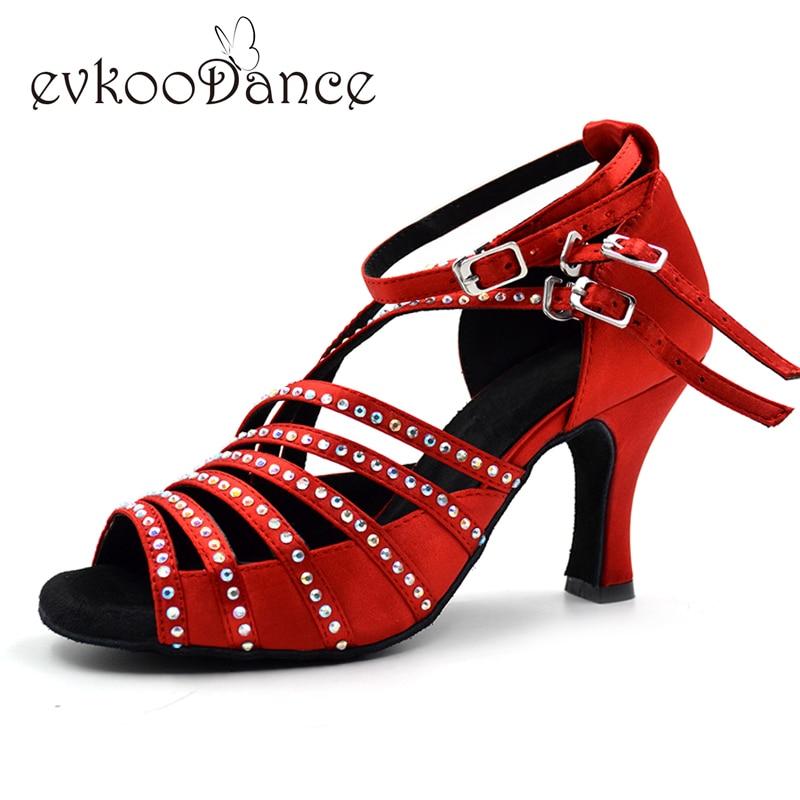 Schoenen voor Latin dance 7cm Hakhoogte Rhinestones Comfortabel Rood Salsa Ballroom Latin Satin Dansschoenen voor dames NL003