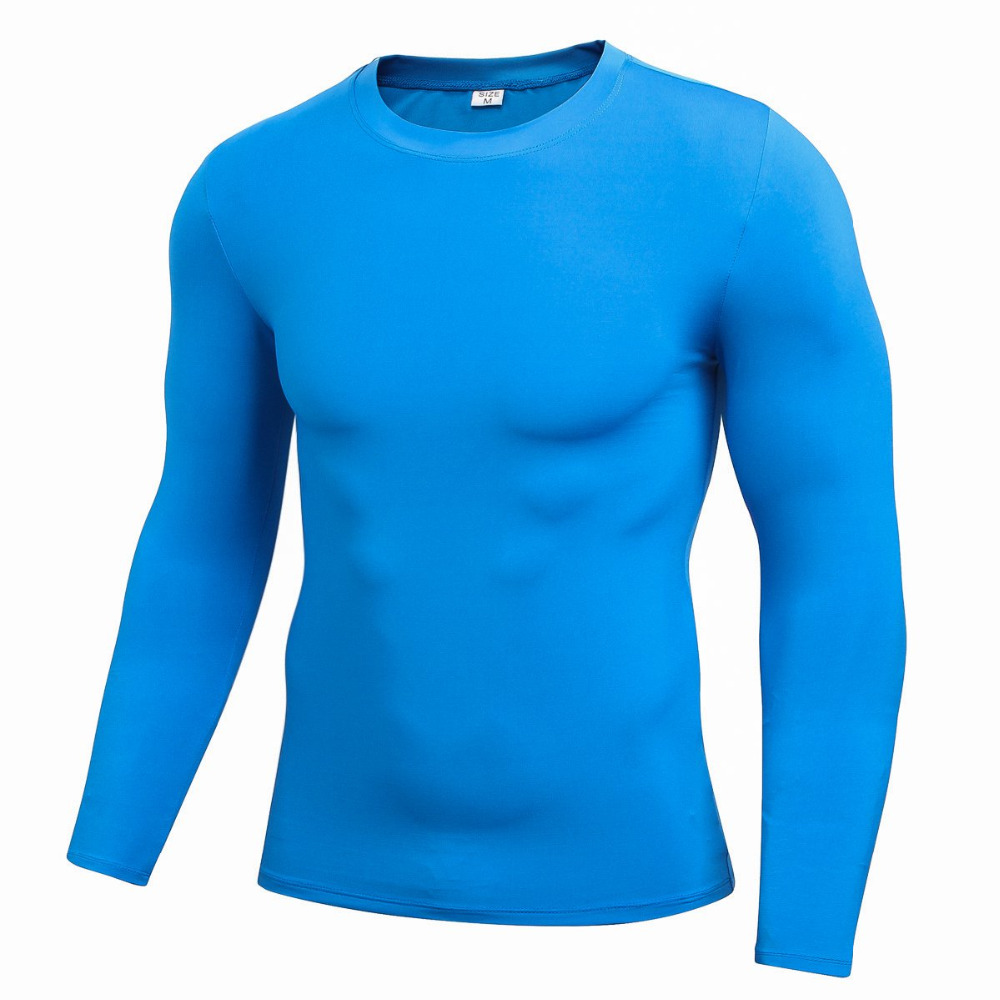 2017 Hot Autumn Spring Men Elastic Long Sleeve Sports Compression Basketball Running Tight T Shirts Fast Drying Fitness j2
