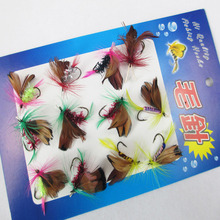 12 Pcs a lot fly fishing hooks Double Wings fishing hook Insect Bionic anzol para pesca anzol gancho barbe fly hook haken pesca