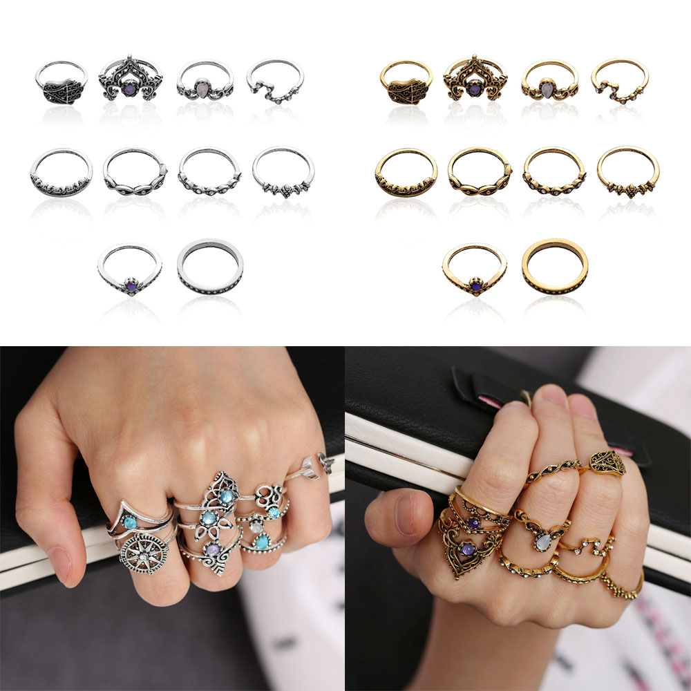 Hot vintage style Beach Geometric 8 Piece Finger Band Ring Set Antique Silver