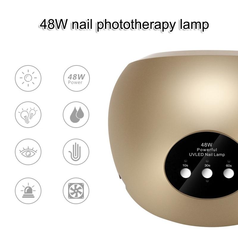 48W UV Light LED Nail Dryer Curing Lamp Fingernail Toenail Gels Based Polishes Sensor Timer SSwell