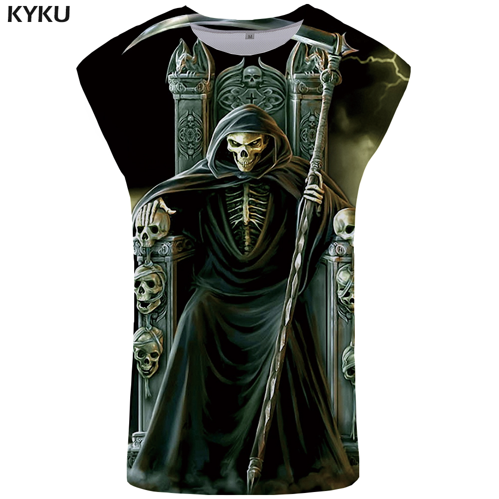 KYKU Grim Reaper Tank Top Women Skull Singlet Evil Ftness Dark Summer Top Sexy Plus Size Womens Clothing Short Anime Printed